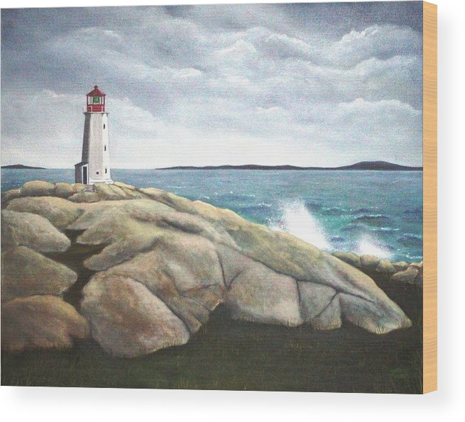 Original Painting Of Lighthouse Wood Print featuring the painting Peggys Light Nova Scotia by Sharon Steinhaus
