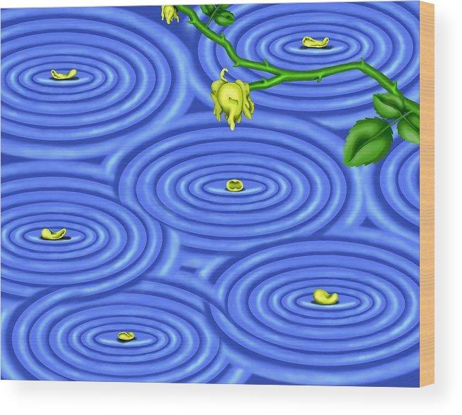 Surrealism Wood Print featuring the digital art Petals on Water III by Robert Morin