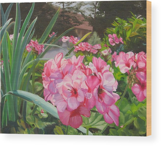 Pink Geraniums Wood Print featuring the painting Pink Geraniums by Lea Novak