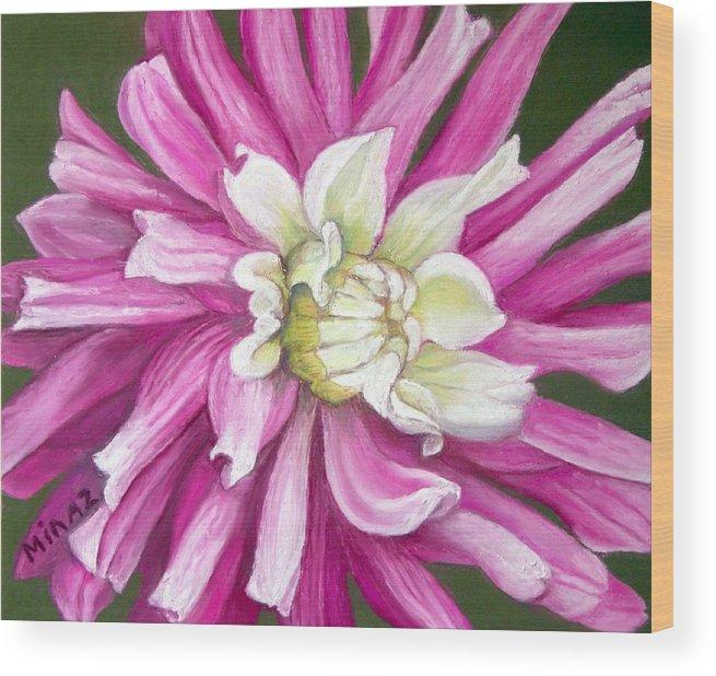 Floral Wood Print featuring the painting Pink Petal Blast by Minaz Jantz