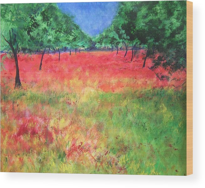 Original Landscape Painting. Poppy Field Wood Print featuring the painting Poppy Field II by Lizzy Forrester