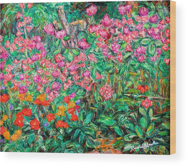 Kendall Kessler Wood Print featuring the painting Radford Flower Garden by Kendall Kessler