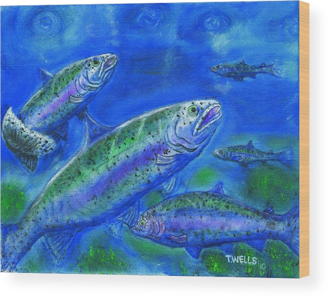 Rainbow Trout Wood Print featuring the painting Rainbow Trout Swimming by Tanna Lee M Wells