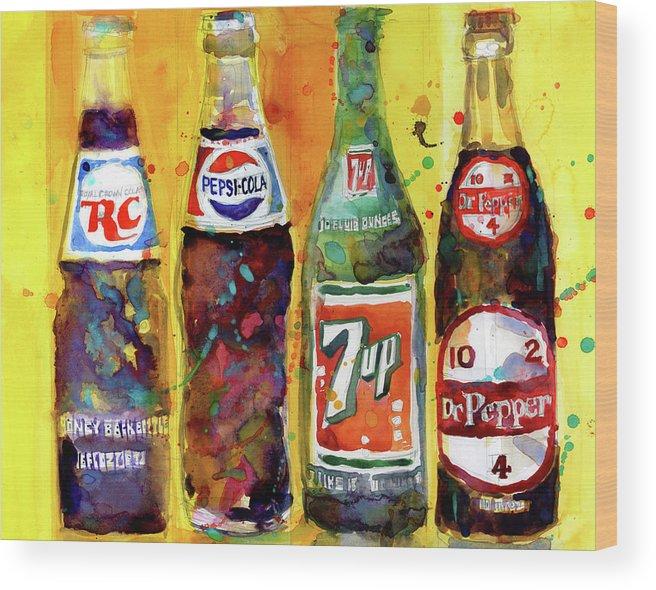 Rc Cola Pepsi Cola 7up Dr Pepper Vintage Bottles Wood Print By Dorrie Rifkin