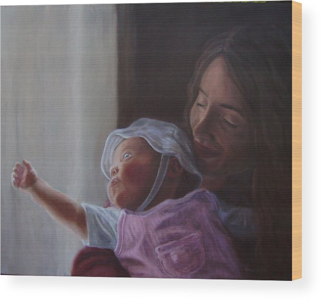 People Wood Print featuring the painting Reaching for the Light by Tahirih Goffic