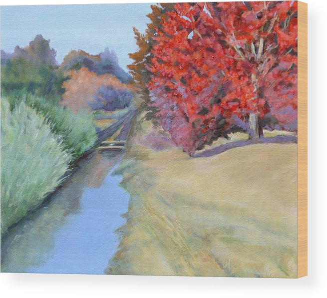 Landscape Wood Print featuring the painting Red Tree and River by Mary Chant