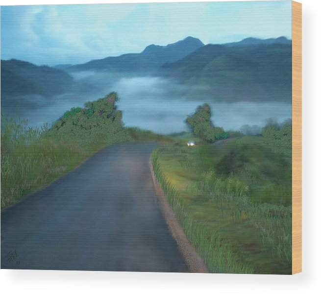 Landscape Wood Print featuring the digital art Road Less Traveled by Tony Rodriguez