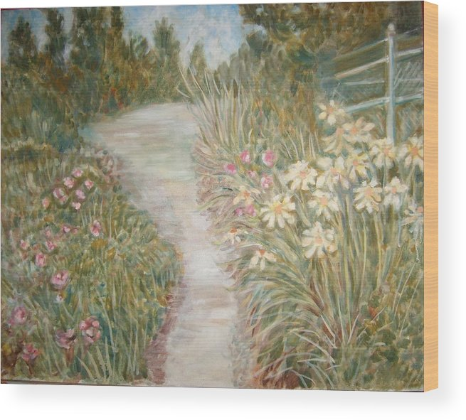 Landscape Flowers Bushes Trees Fence Wood Print featuring the painting Road to Sebago by Joseph Sandora Jr