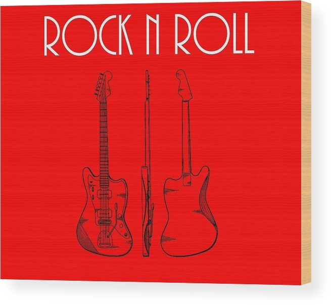 Rock And Roll Poster Wood Print featuring the digital art Rock And Roll Poster by Dan Sproul
