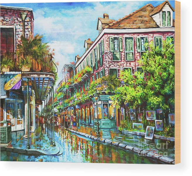 New Orleans Art Wood Print featuring the painting Royal at Pere Antoine Alley, New Orleans French Quarter by Dianne Parks