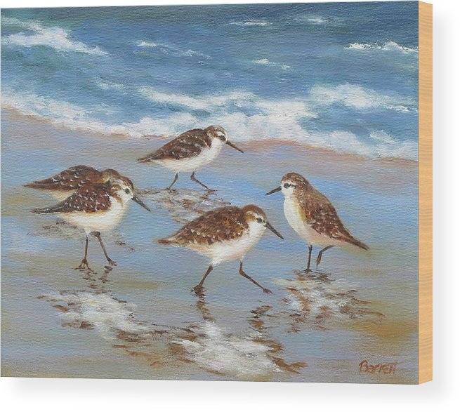 Sandpipers Wood Print featuring the painting Sandpipers by Barrett Edwards