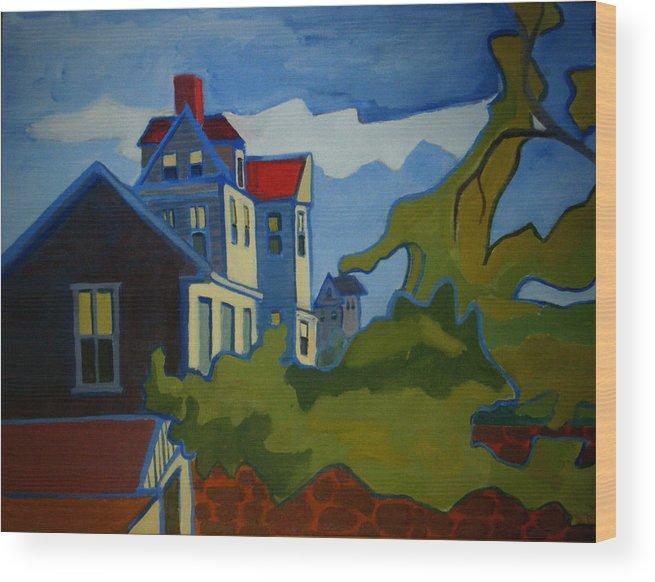 Buildings Wood Print featuring the painting Sarah Paul by Debra Bretton Robinson