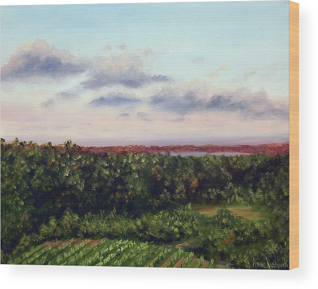 Vineyards Wood Print featuring the painting Saude Creek Sunset II by Anne Kushnick