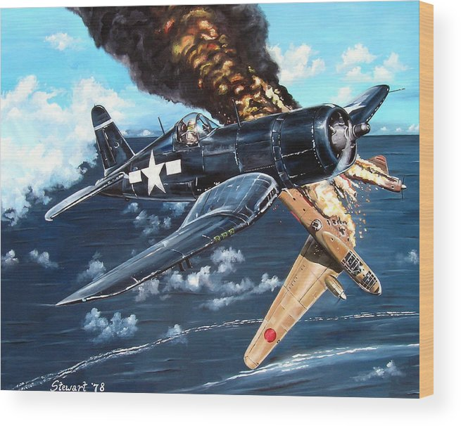 Military Wood Print featuring the painting Scratch One Betty by Marc Stewart