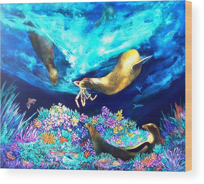 Ocean Wood Print featuring the painting Sea Garden by Dianne Roberson