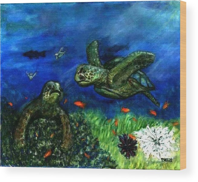Sea Turtle Wood Print featuring the painting Sea Turtle Rendezvous by Tanna Lee M Wells