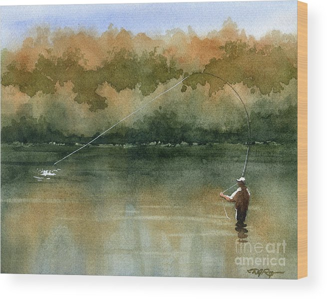 Fly Wood Print featuring the painting Serenity by David Rogers