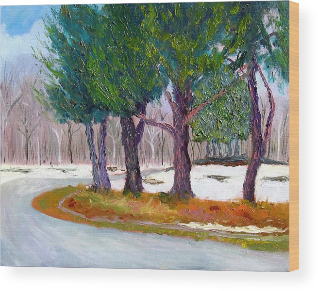Landscape Wood Print featuring the painting SEWP Spring Thaw by Stan Hamilton