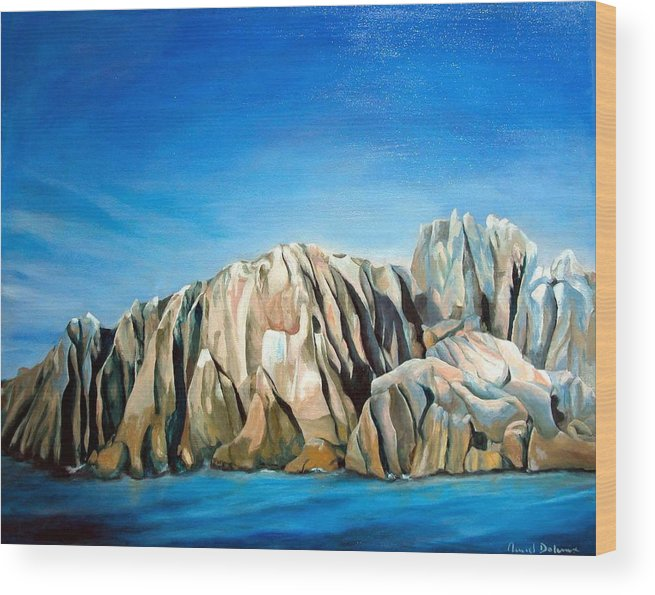 Paysage Wood Print featuring the painting Seychelles by Muriel Dolemieux