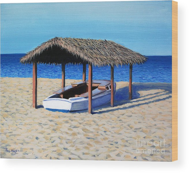 Boat Wood Print featuring the painting Sheltered Boat by Paul Walsh