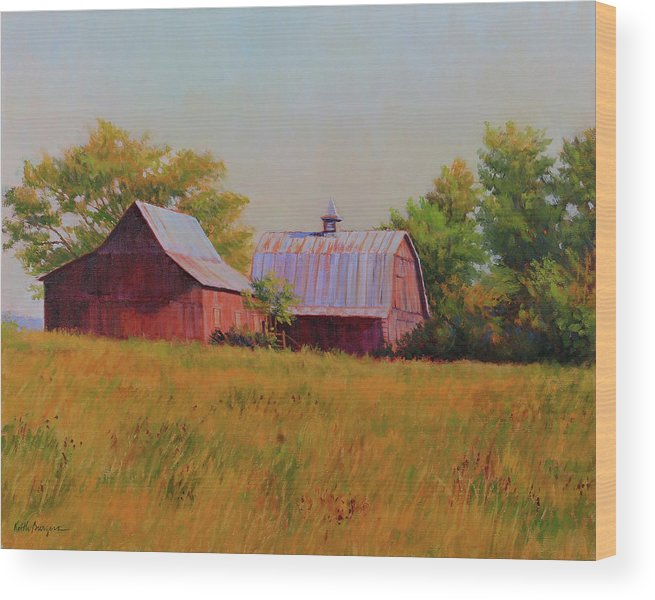 Barns Wood Print featuring the painting Sisters by Keith Burgess