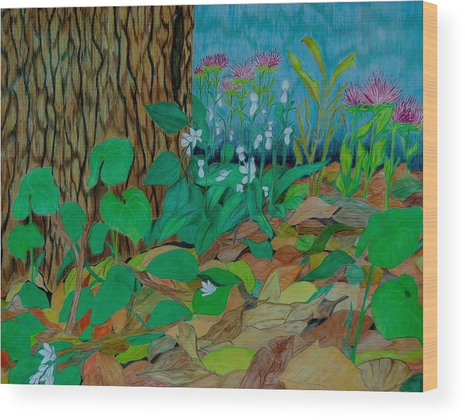 Tree Wood Print featuring the mixed media Six in hiding by Charla Van Vlack