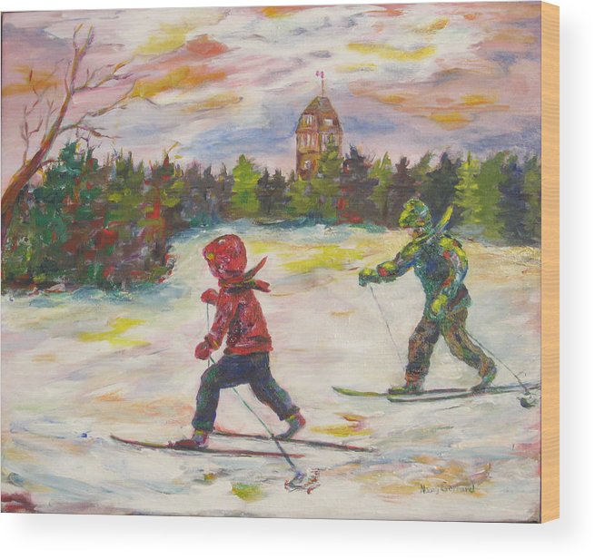 Skiing Wood Print featuring the painting Skiing in the Park by Naomi Gerrard