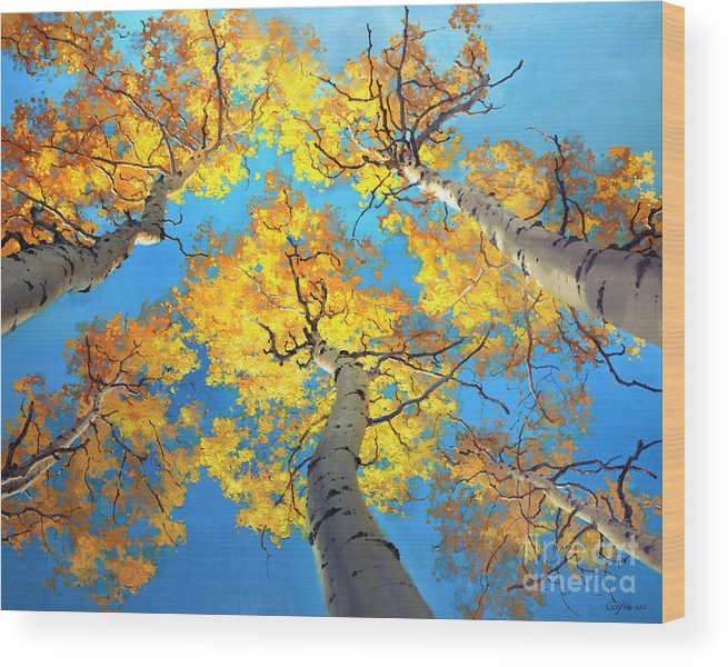 Aspen Trees Birch Gary Kim Oil Print Art Nature Scenes Hospital Healing Environment Patient Santa Fe Fall Trees Autumn Season Beautiful Beauty Yellow Red Orange Fall Leaves Foliage Autumn Leaf Color Mountain Oil Painting Original Art Horizontal Landscape National Park America Morning Nature Wallpaper Outdoor Panoramic Peaceful Scenic Sky Sun Travel Vacation View Season Bright Autumn National Park America Clouds Landscape Natural New Painting Oil Original Vibrant Texture Reflections Bluesky Wood Print featuring the painting Sky High Aspen Trees by Gary Kim