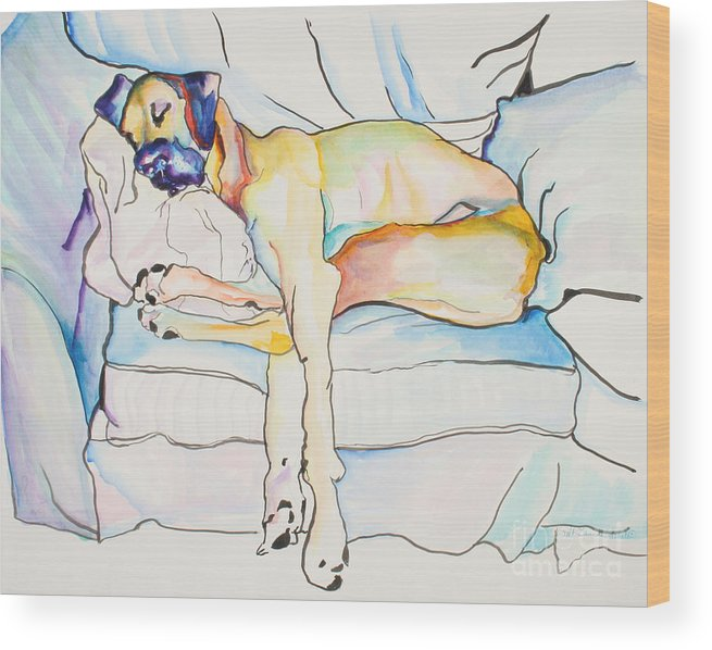Great Dane Wood Print featuring the painting Sleeping Beauty by Pat Saunders-White