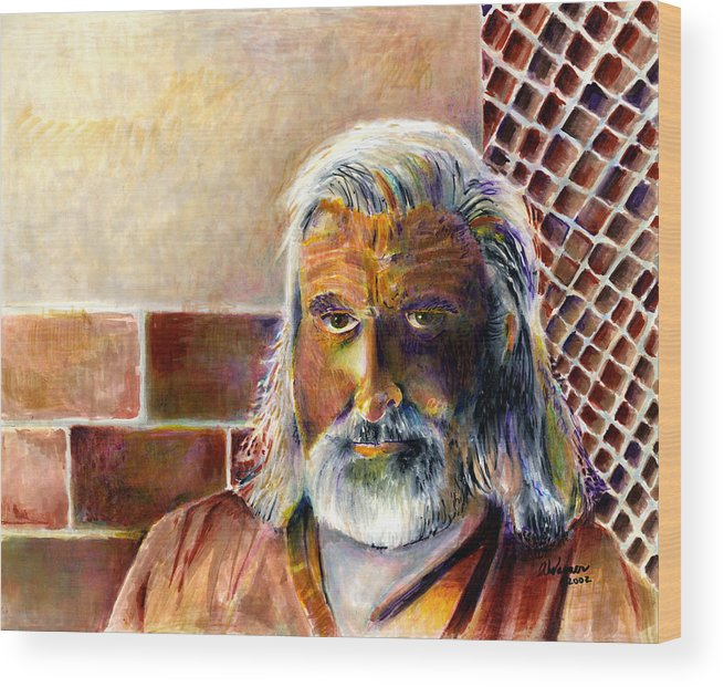 Man Wood Print featuring the painting Solitary by Suzanne Blender