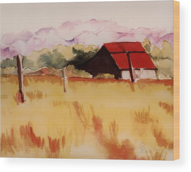 Watercolor Landscape Wood Print featuring the painting Sonoma Wheatfield by Patricia Halstead