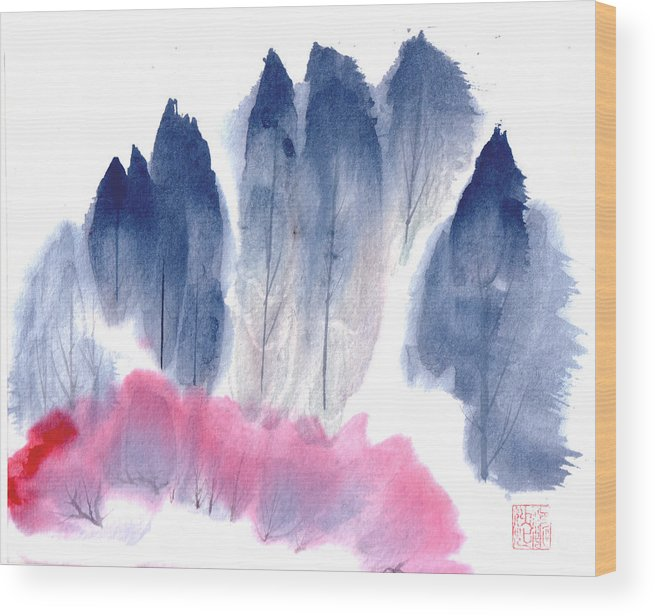 A Forest With Red Blooming Bushes In Spring. This Is A Contemporary Chinese Ink And Color On Rice Paper Painting With Simple Zen Style Brush Strokes.  Wood Print featuring the painting Spring Forest by Mui-Joo Wee