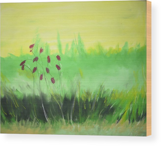 Wood Print featuring the painting Spring by Ingrid Torjesen