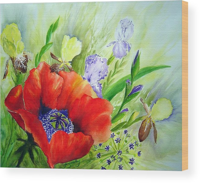 Poppy Iris Floral Painting Wood Print featuring the painting Spring Splendor by Joanne Smoley