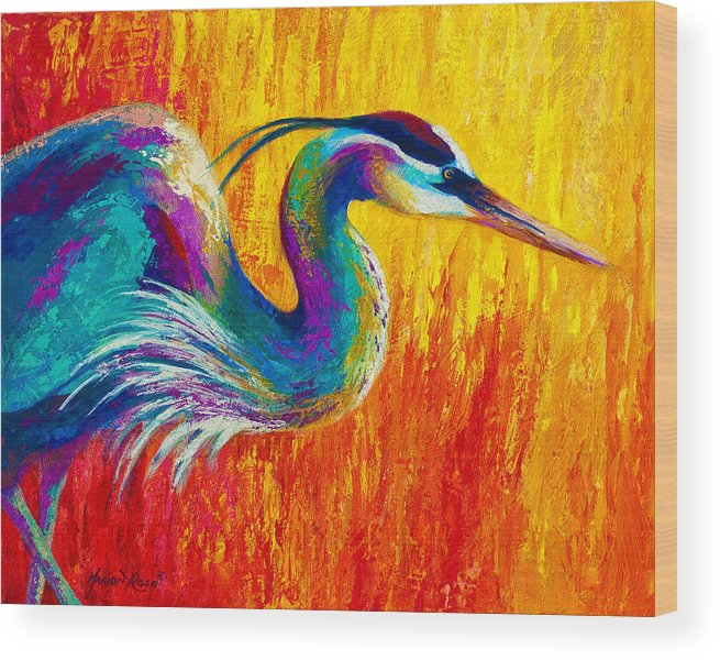Heron Wood Print featuring the painting Stalking The Marsh - Great Blue Heron by Marion Rose