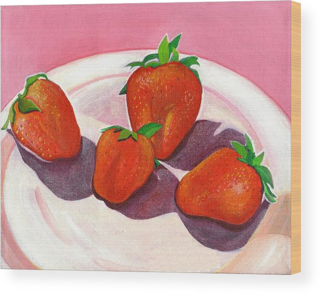 Food Wood Print featuring the painting Strawberries and Cream by Helena Tiainen