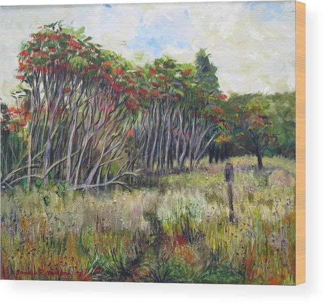 Fall Wood Print featuring the painting Sumac Fall by Art Nomad Sandra Hansen