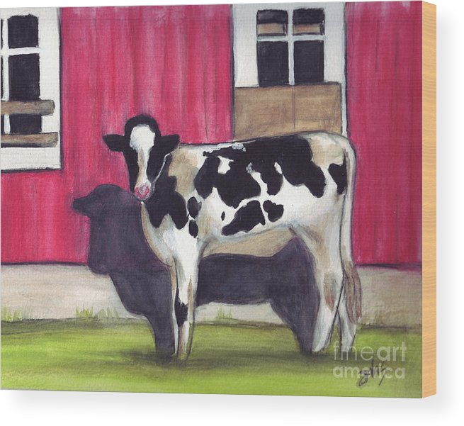 Cow Wood Print featuring the painting Sunny side of the barn by Debra Sandstrom