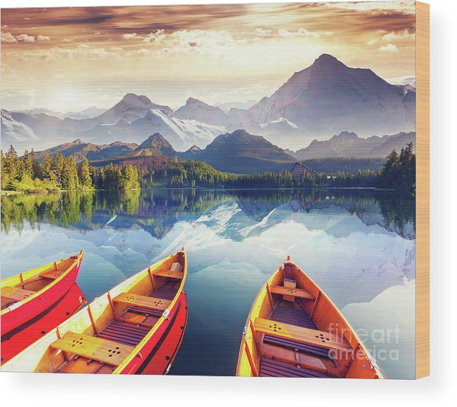 Alp Wood Print featuring the photograph Sunrise over Australian Lake by Thomas Jones