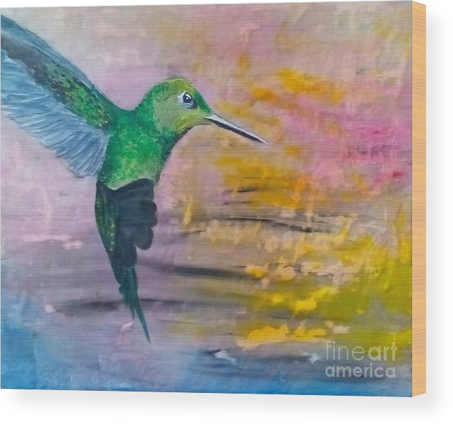 Hummingbird Wood Print featuring the painting Sunset Dancer by J Bauer