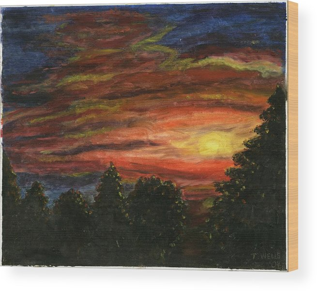 Sunset In Washington State Wood Print featuring the painting Sunset in Washington State by Tanna Lee M Wells