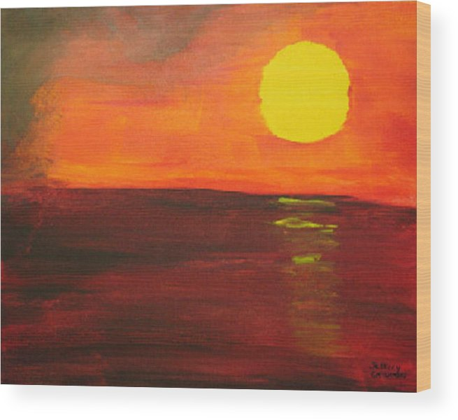 Sunset Wood Print featuring the painting Sunset by Jeff Caturano