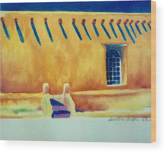 Taos Noon Wood Print featuring the painting Taos Noon by Caroline Patrick
