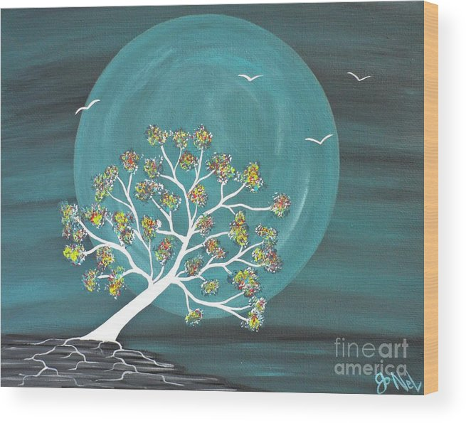 Landscape Wood Print featuring the painting Teal Moon Nights by JoNeL Art
