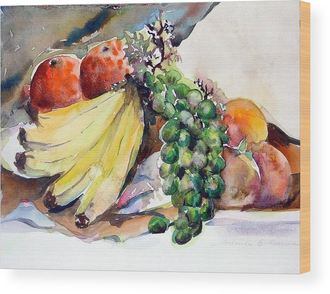 Fruit Wood Print featuring the painting Thanksgiving by Mindy Newman