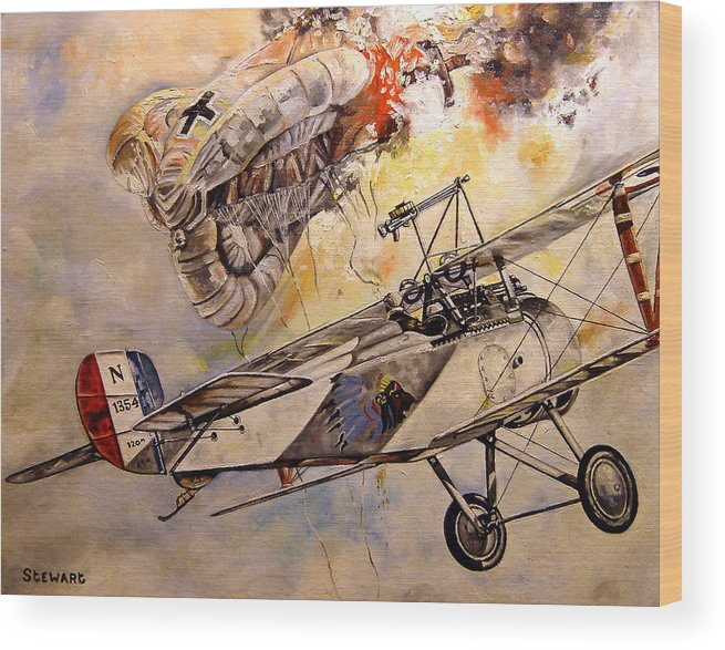 Military Wood Print featuring the painting The Balloon Buster by Marc Stewart