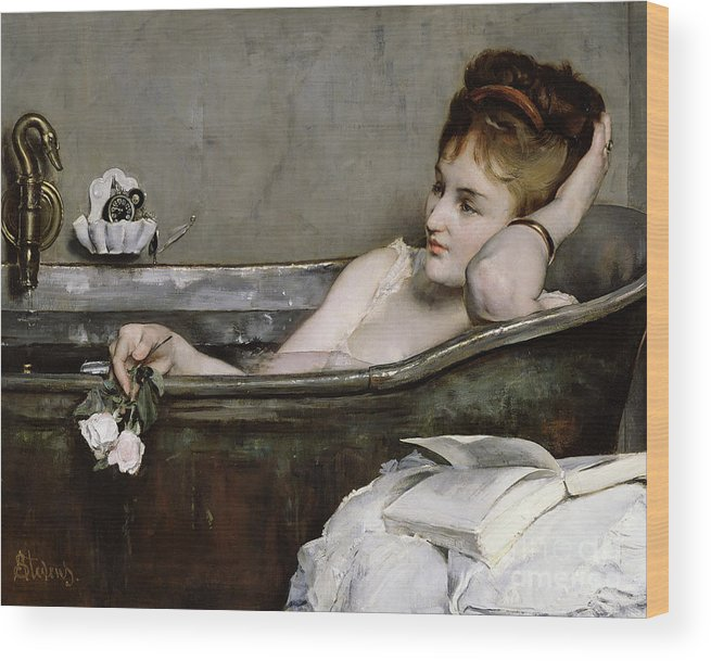 Alfred George Stevens Wood Print featuring the painting The Bath by Alfred George Stevens