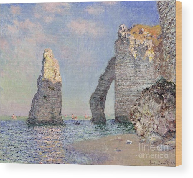 The Cliffs At Etretat Wood Print featuring the painting The Cliffs At Etretat by Claude Monet