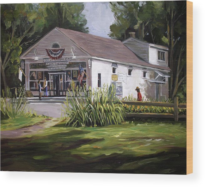Buildings Wood Print featuring the painting The Country Store by Nancy Griswold