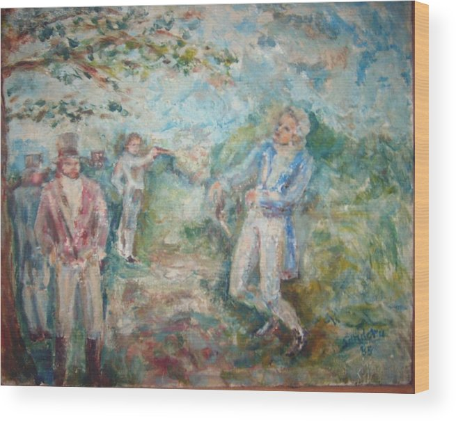 People Landscape Historical Duel Wood Print featuring the painting The Duel by Joseph Sandora Jr